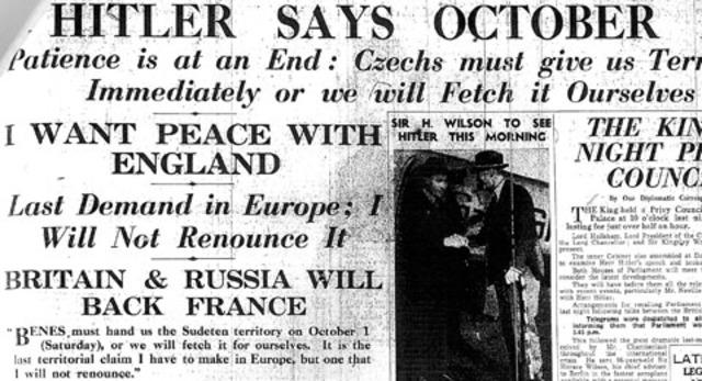 Hitler demands the Sudetenland from Czechoslovakia