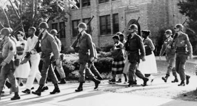 Eisenhower sends a thousand members of the 101st Airborne Division to Little Rock