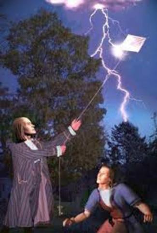Benjamin Franklin flies his kite