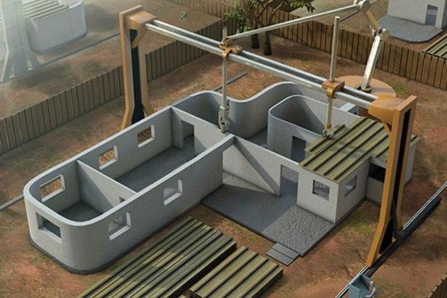 3D печать: принтер печатает домА