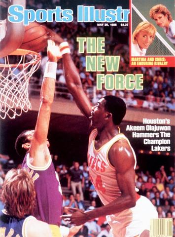 Olajuwon is featured on the cover of Sports Illustrated