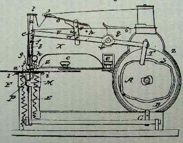 Walter Hunt improved sewing machine patent