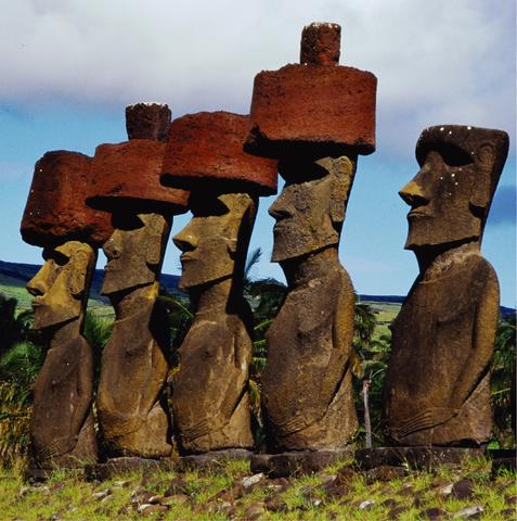 Row of moai on a stone platform