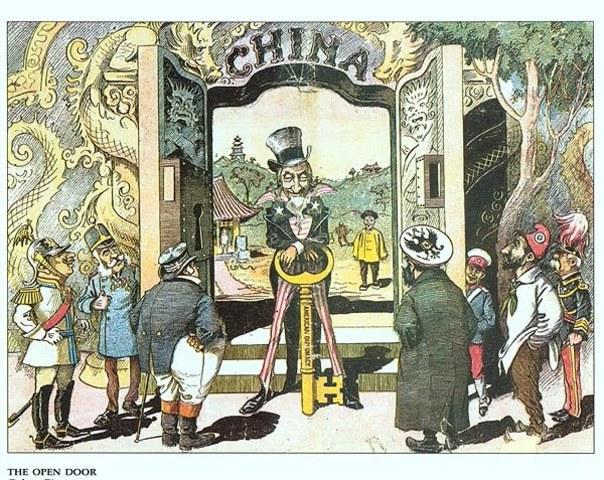 China's Open Door Policy - political cartoon