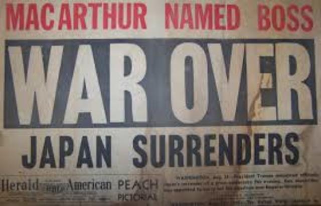 Japan surrenders, end of WWII