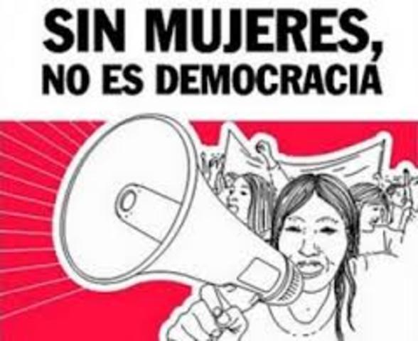 Women gathered demanding votes