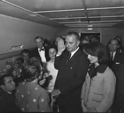 Lyndon B.Johnson took office immediately after Kennedy's death