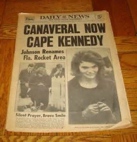Cape Canaveral renamed Cape Kennedy by President Johnson
