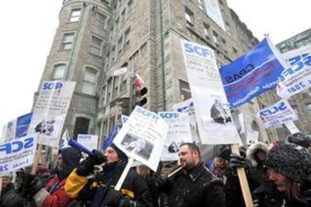 Manifestation du CPAS contre le projet de loi 10 à Québec