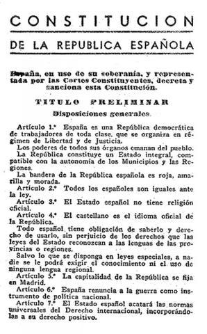 Religious Freedom: The Spanish Republic's Constitution, Spain.