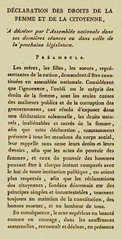 Declaration des Droits de la Femme et de la Citoyenne, 1791