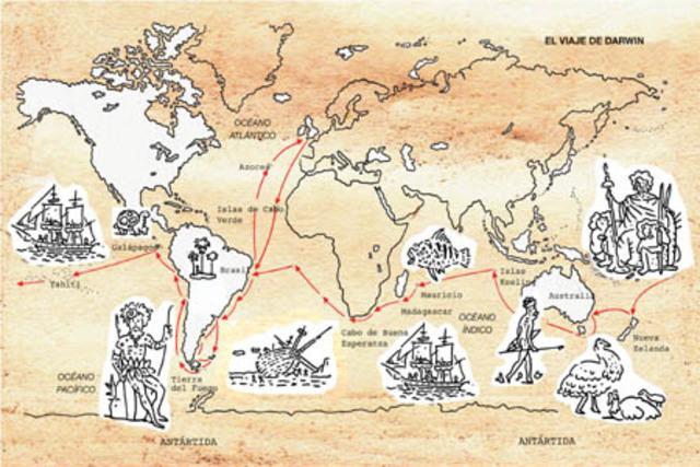 Darwin hace el viaje a bordo del Beagle por buena parte del globo terráqueo.