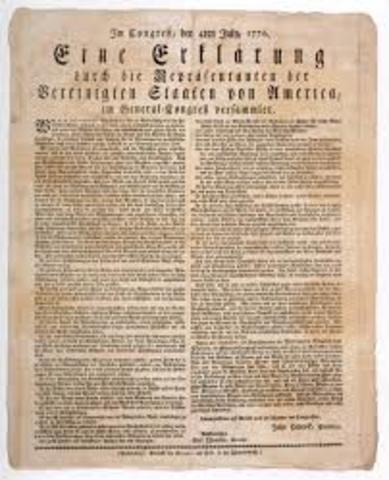 Unabhängigkeitserklärung der 13 englischsprachigen Kolonien in Amerika