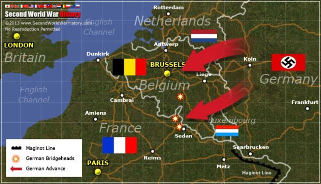 Germany attacks Belgium, Netherlands, Luxembourg, and France