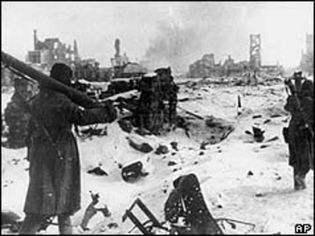 Germans surrender at Stalingrad
