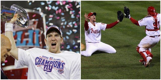 Hace siete años que los phillies y los gigantes de nueva york ganaron sus campeonatos.