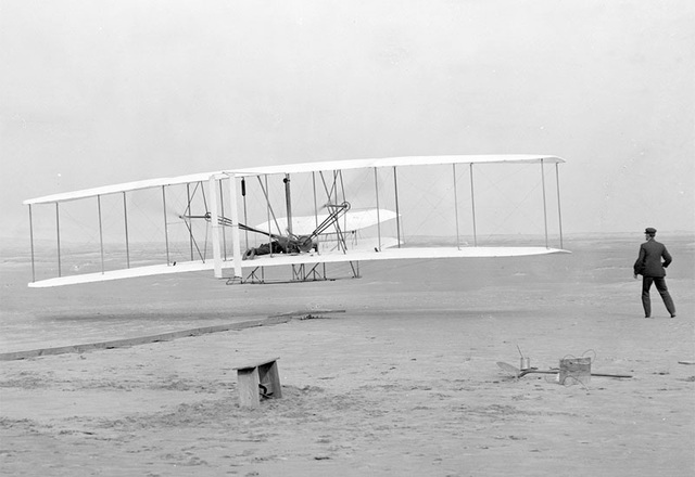 Wright Brothers launch first aircraft