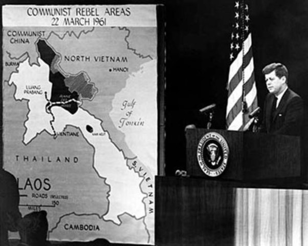 President Kennedy in a televised press conference discussing the arrival of American military advisers in Vietnam, 1961