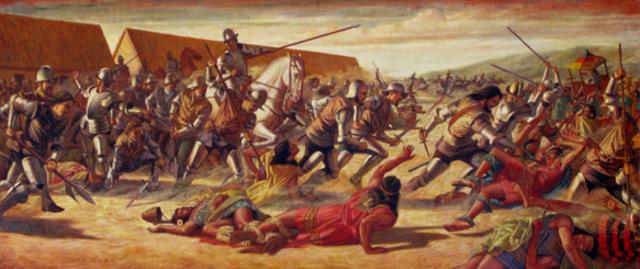 Cortez defeats the Aztecs