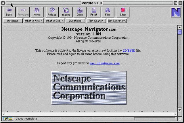 Aparece el navegador de Web Netscape Navigator