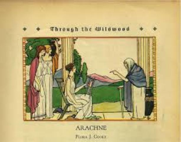 An old woman tells Arachne to appologize Arachne refuses and insults the woman