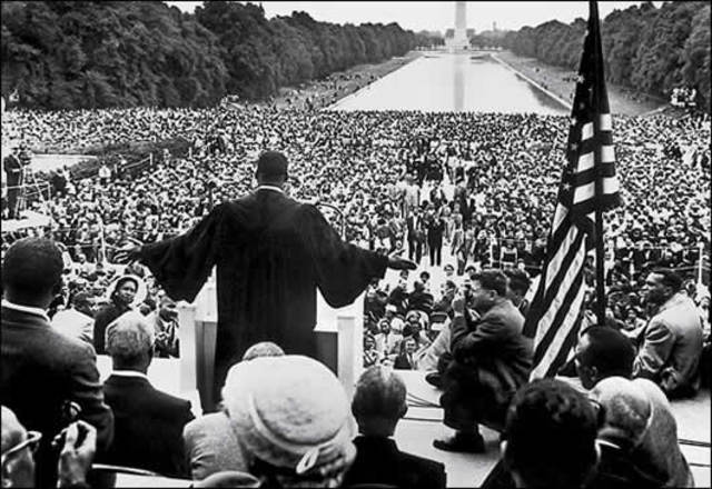 March to Washington: 250,000 black and white people marched for Jobs and Freedom.