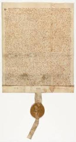 Magna Carta signed by King John at Runnymede: beginning of constitutional rule