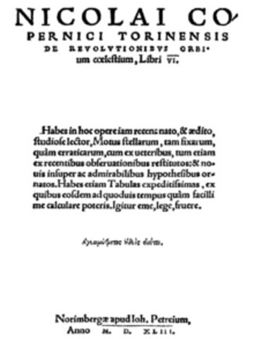 Publicacion ''De revolutionibus orbium coelestium''