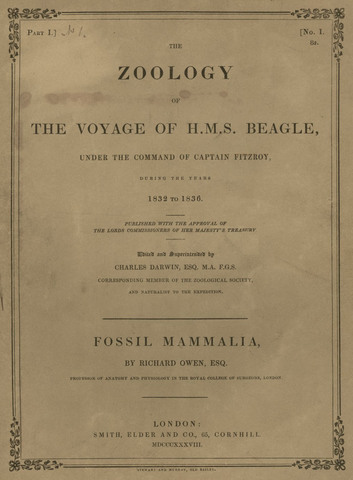 Zoology of the Voyage of H.M.S. Beagle published