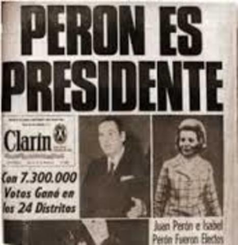 Cuando Juan Domingo Perón gana las elecciones presidenciales presenta su renuncia.