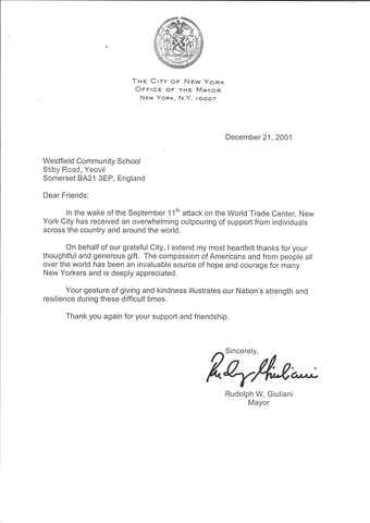 Westfield receives thank you letter from Mayor of New York