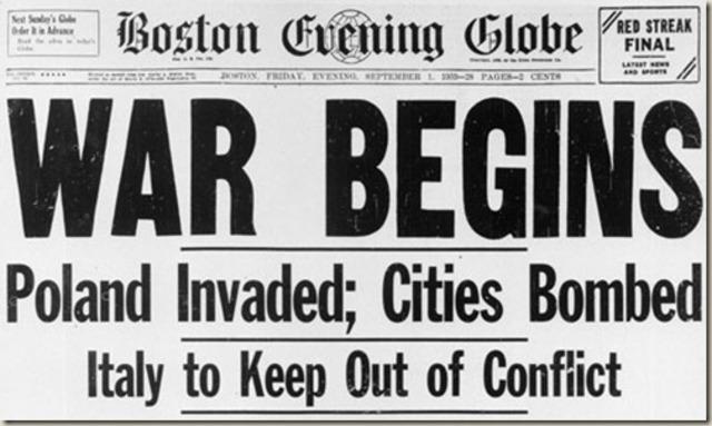 Esclat oficial de la Segona Guerra Mundial