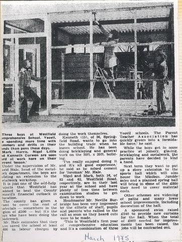 Boys build extension to Technology Block March 1975