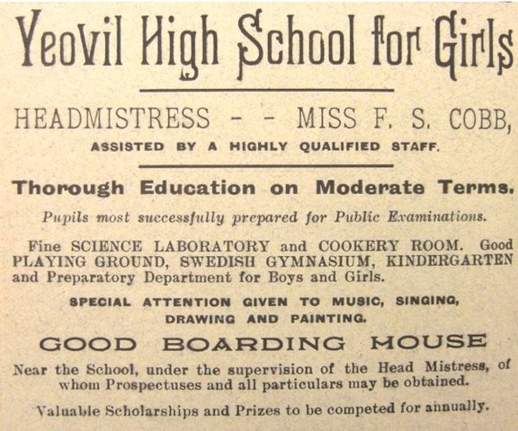 Miss Fanny Cobb became Headmistress of Yeovil High (daughter of Henry Cobb)