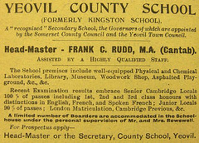Kingston School renamed Yeovil County School this year