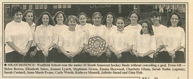 Under 15 Hockey Team win South Somerset Hockey Finals.