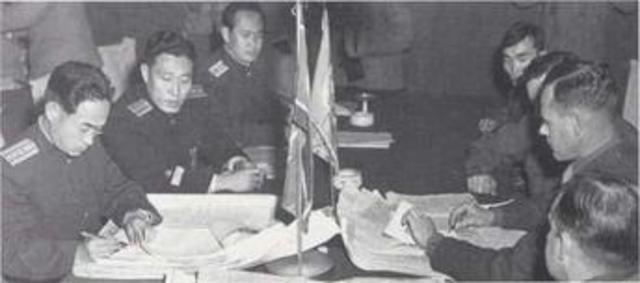 Peace treaty signed at Panmunjom