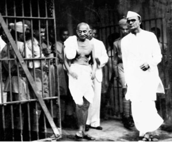 Gandhi is consecutively arrested and sentenced to imprisonment