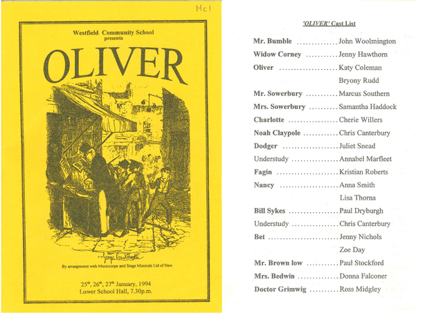 Oliver Programme cover and main cast list