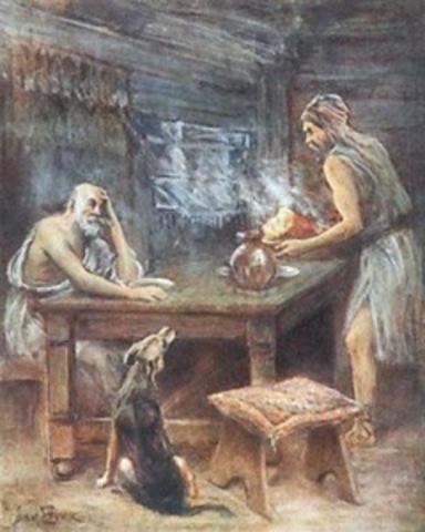 Η υποδοχή από τον Εύμαιο και η συνομιλία