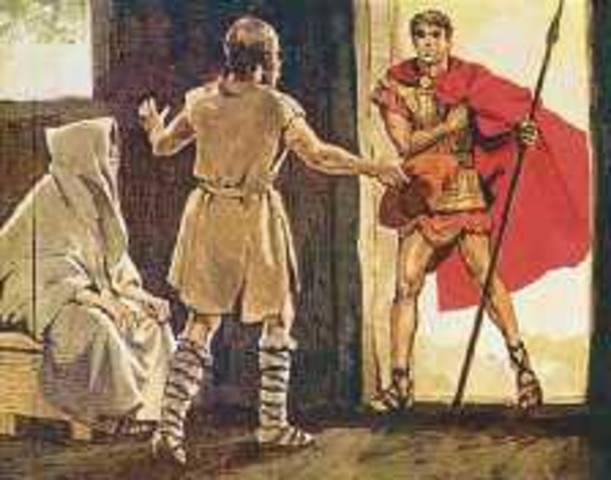 Η υποδοχή του Τηλέμαχου από τον Εύμαιο