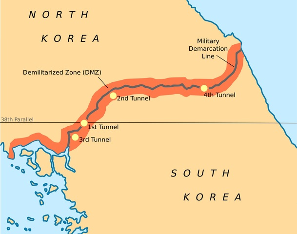Korea is divided into 2 countries