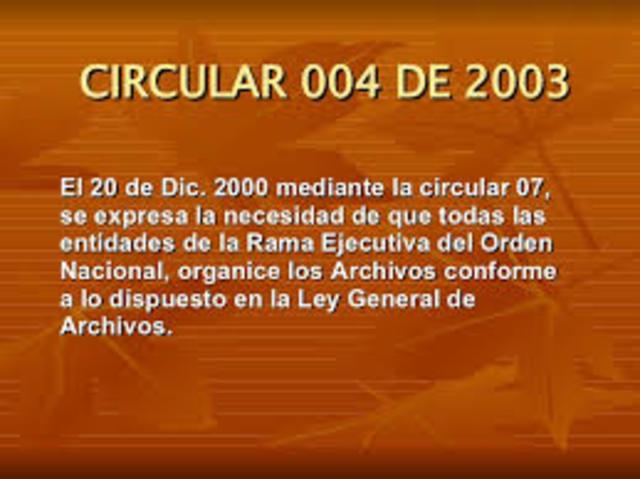 CIRCULAR No.004 DE 2003