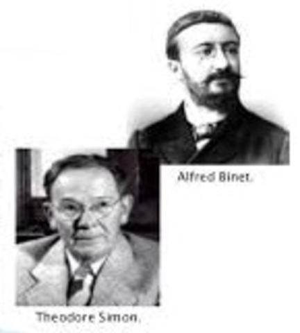 Binet y Simon diseñan y aplican de manera formal el primer test de inteligencia