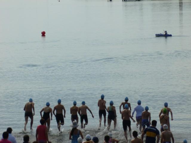 Competencia de natación en panajachel