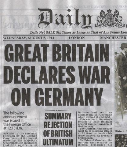 Britain declares war on Germany