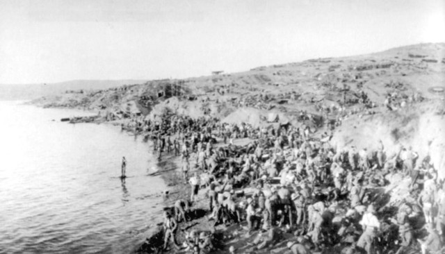 Early attack  to drive the Anzacs back to the beach