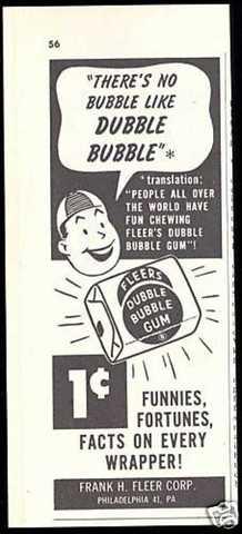 Advertisement of the Dubble Bubble