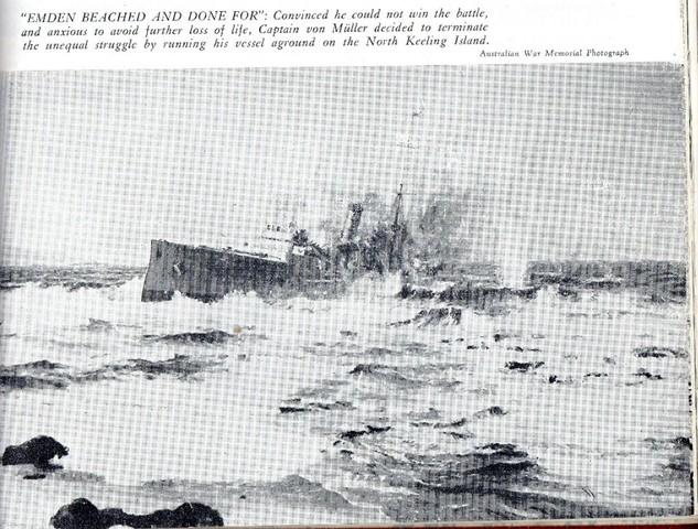 Captain Glossop destroys German battle ship Emden in Australia's first involvement in World War 1