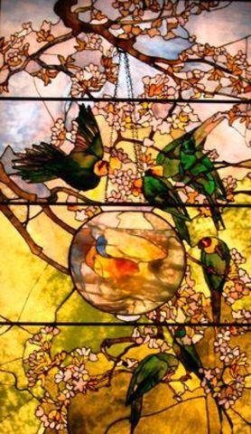 Parakeets and Gold Fish Bowl